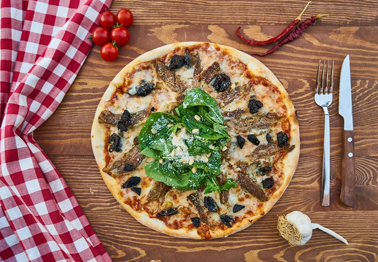 Обои Нож Пицца Томаты Вилка столовая Продукты питания ножик Помидоры Еда Пища