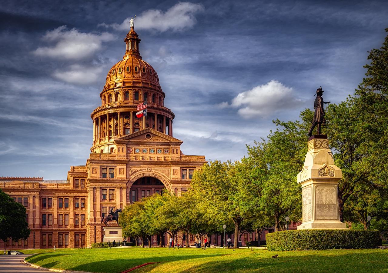 Обои для рабочего стола Техас Остин TX америка Памятники Travis County, Texas Capitol HDR Города Здания США штаты HDRI Дома город