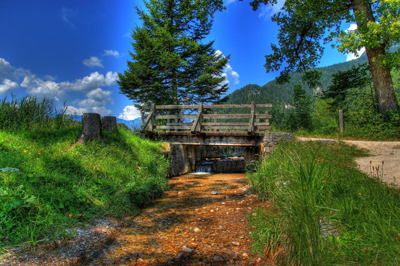 Обои Германия Bischofswiesen HDR Мосты Природа Трава речка HDRI Реки траве