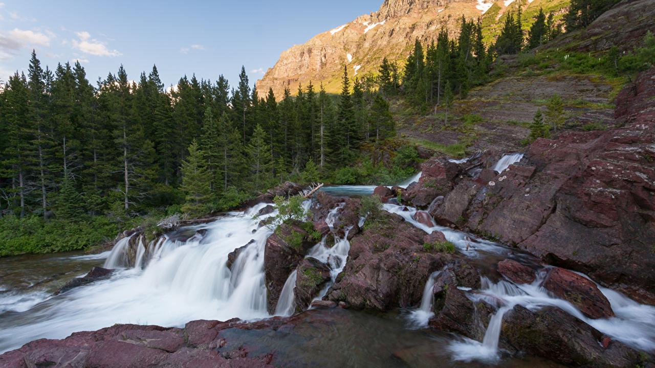 Фотографии штаты Glacier National Park Скала Природа Водопады Парки Камень Деревья США америка Утес скале скалы парк Камни дерево дерева деревьев