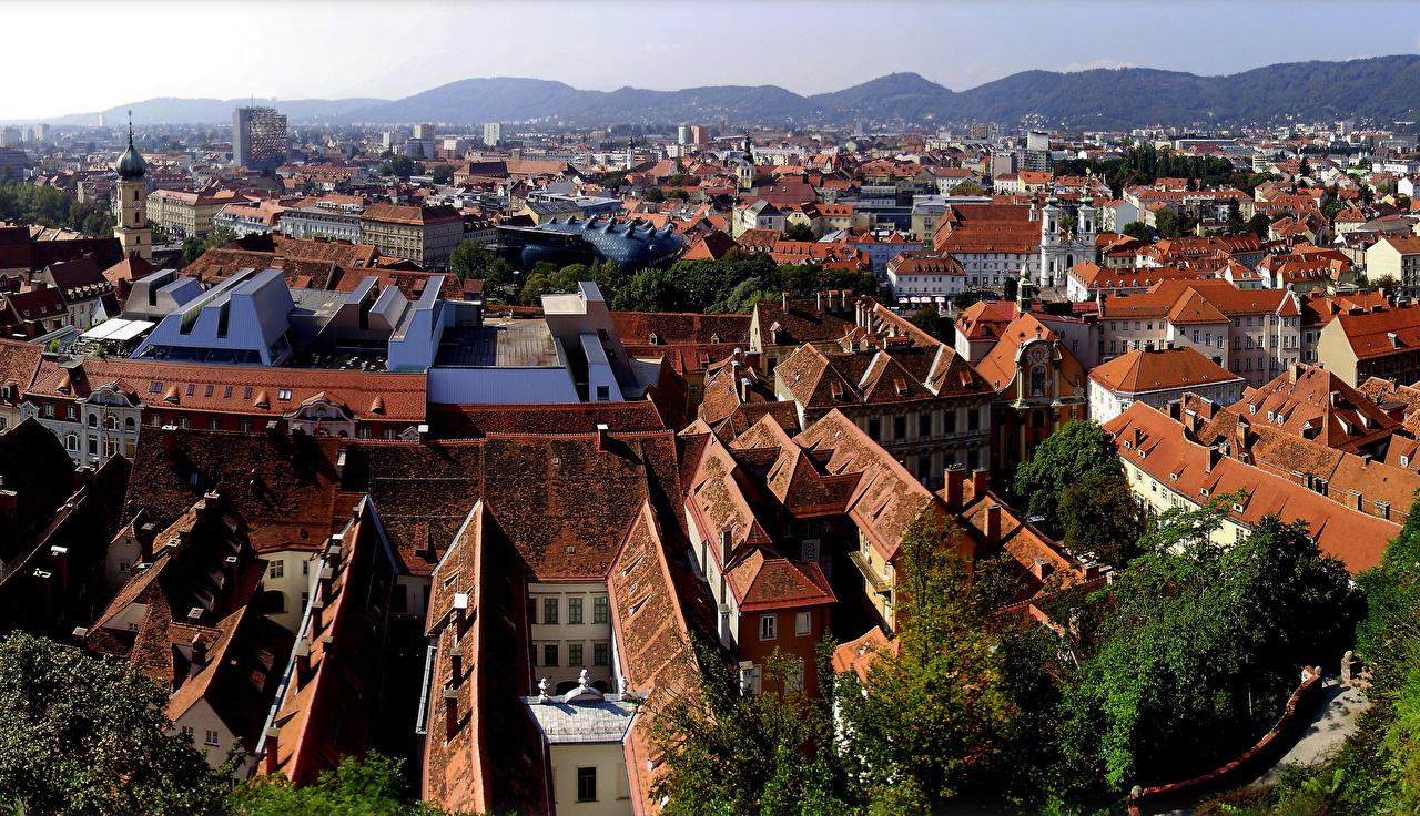 Картинка Австрия Styria Graz Сверху Дома Города город Здания