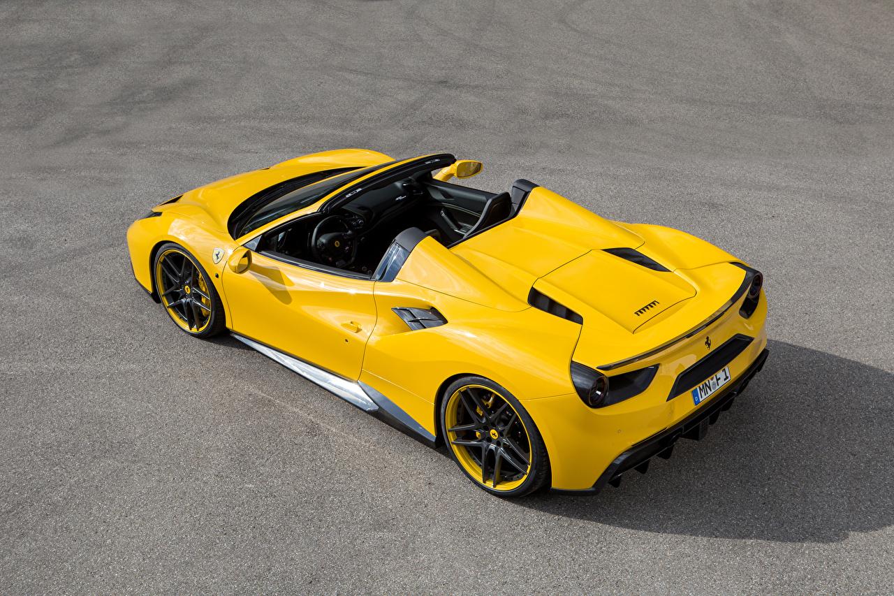 Картинки Феррари 488 Spider Novitec Rosso Родстер желтая Автомобили Ferrari желтых желтые Желтый авто машина машины автомобиль