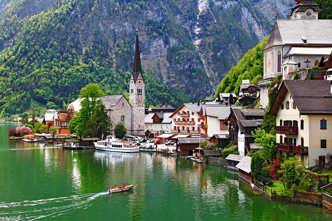 Фото Церковь Халльштатт Австрия Gmunden County Озеро Лодки Причалы Города Пирсы Пристань