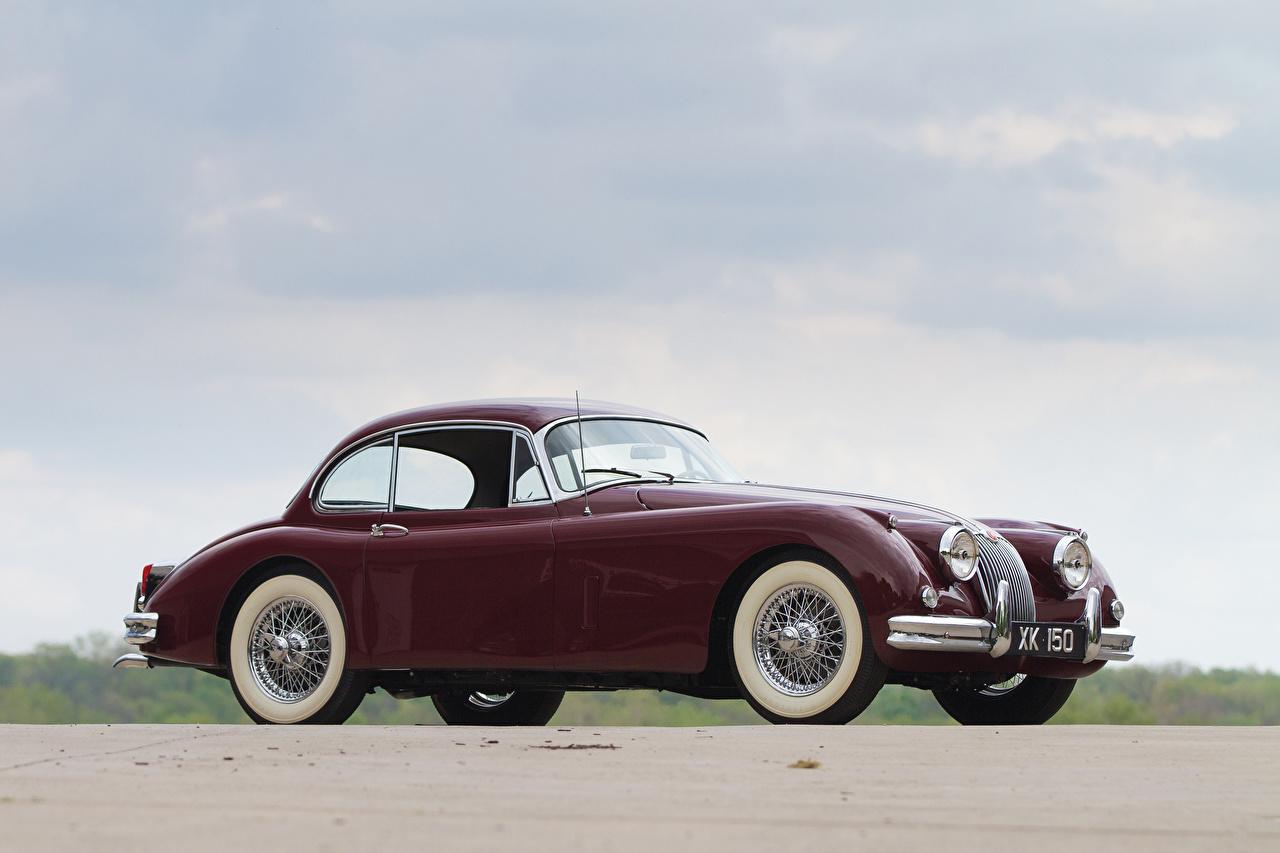 Фотографии 1958-61 Jaguar XK150 Fixed Head Coupe темно красный Металлик Автомобили Ягуар Бордовый бордовые бордовая Авто Машины