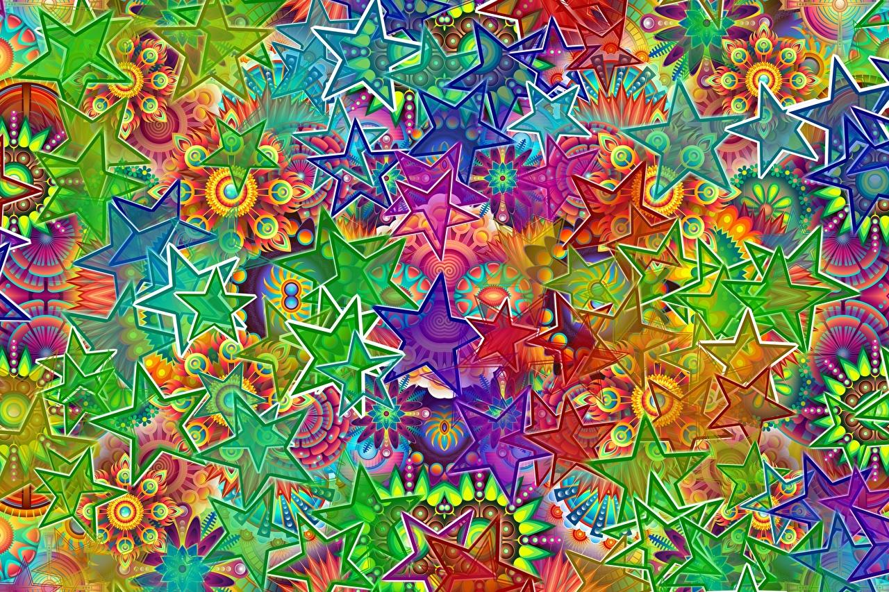 Фото Звездочки Разноцветные Абстракционизм Абстракции