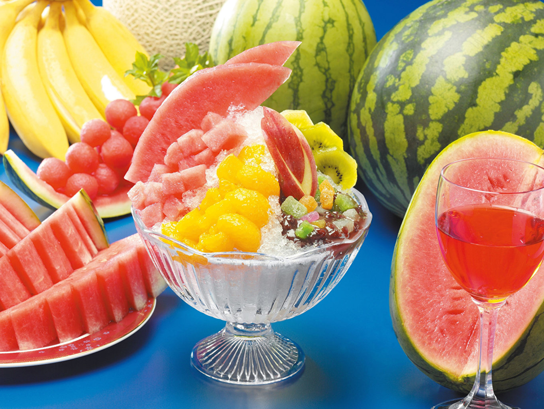 Фото Сок Арбузы Десерт Еда бокал Пища Бокалы Продукты питания