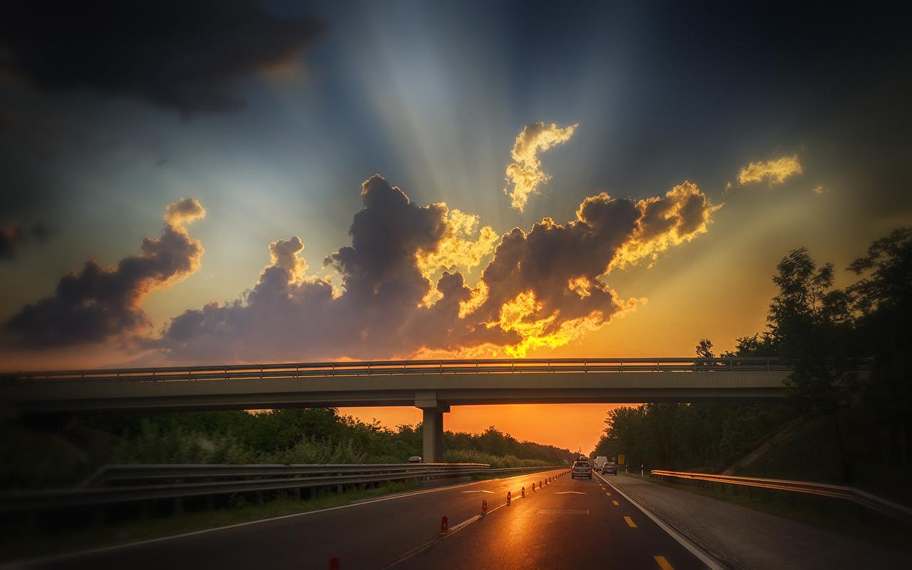 Фотография Мосты Природа Дороги Рассветы и закаты облако мост рассвет и закат Облака облачно