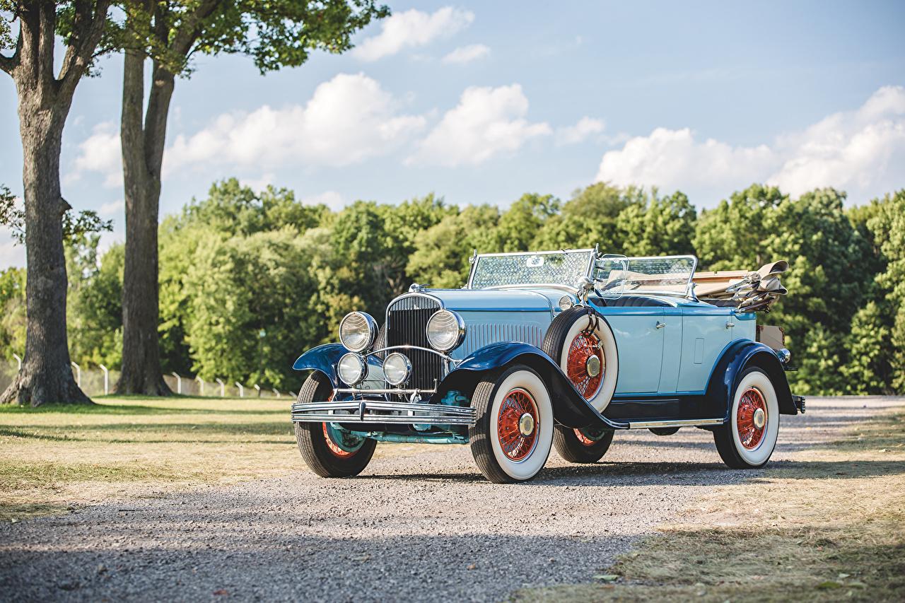 Фото Chrysler 1929 Series 75 Tonneau Phaeton Винтаж голубые Металлик автомобиль Крайслер Ретро голубых Голубой голубая старинные авто машина машины Автомобили