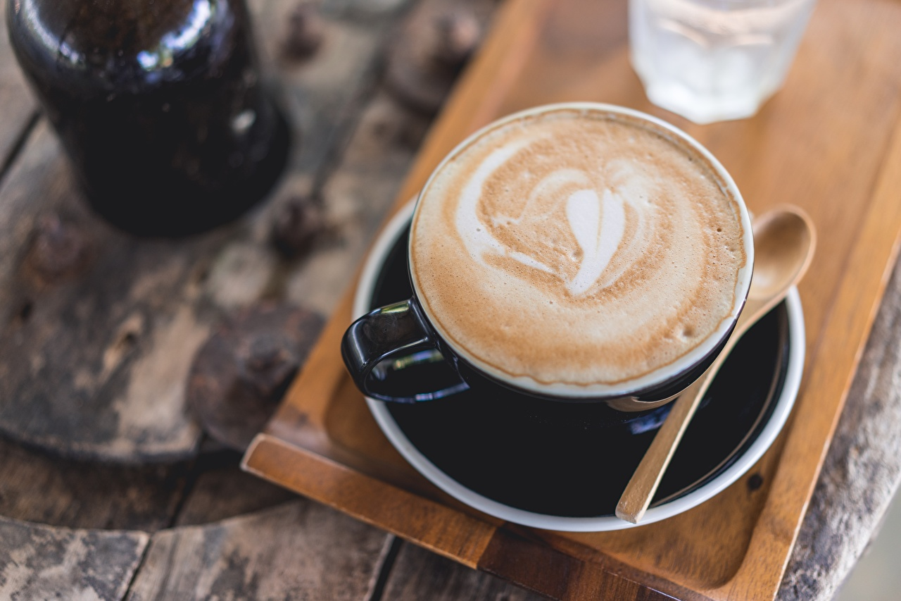 Фотография Кофе Капучино чашке Продукты питания Еда Пища Чашка