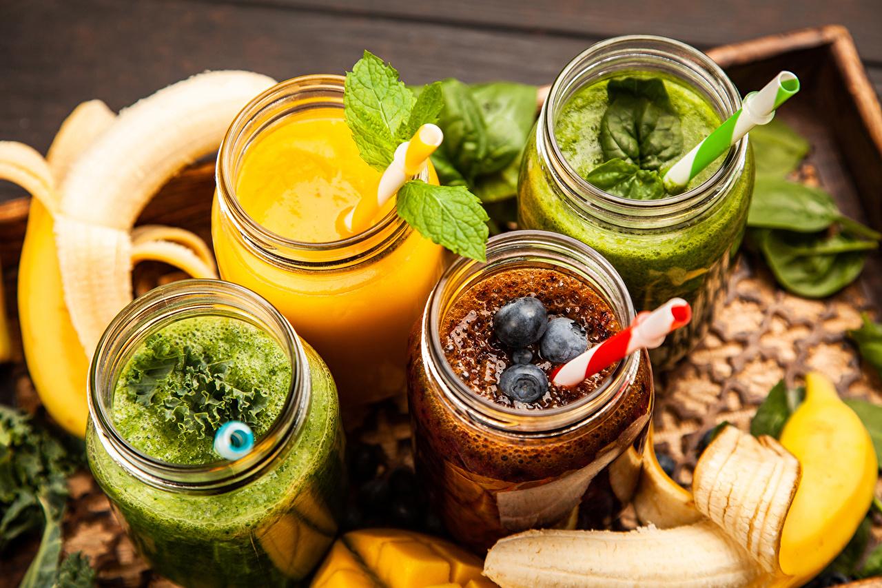 Фотографии Смузи Банка Еда Овощи Фрукты Пища Продукты питания