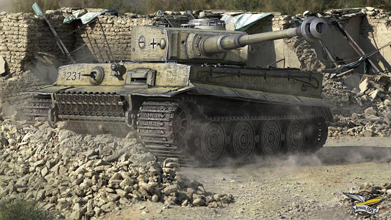 Обои для рабочего стола WOT танк Tiger I 3D Графика компьютерная игра World of Tanks Танки 3д Игры