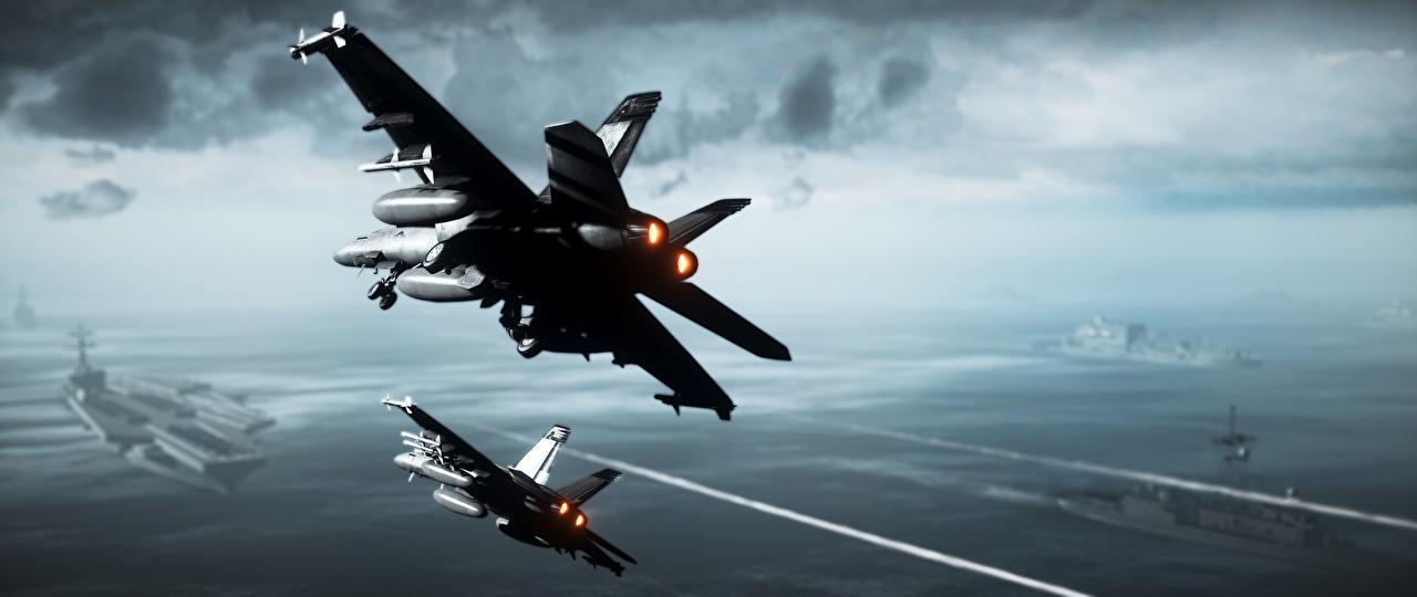 Обои Battlefield 3 Штурмовики Самолеты Авианосец 3D Графика Игры Авиация