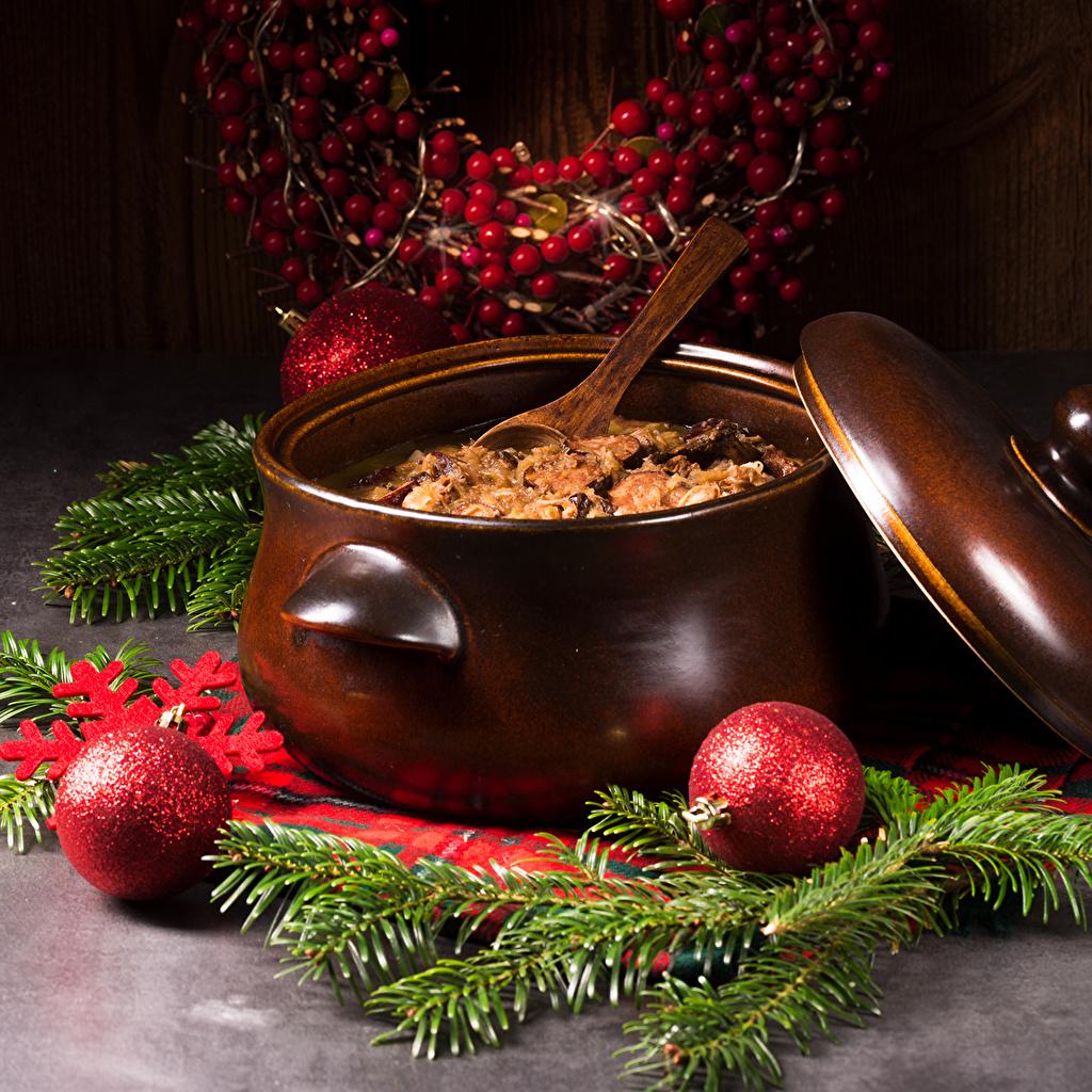 Фотография Новый год Еда Шар ветвь Вторые блюда Рождество Пища Ветки ветка Шарики на ветке Продукты питания
