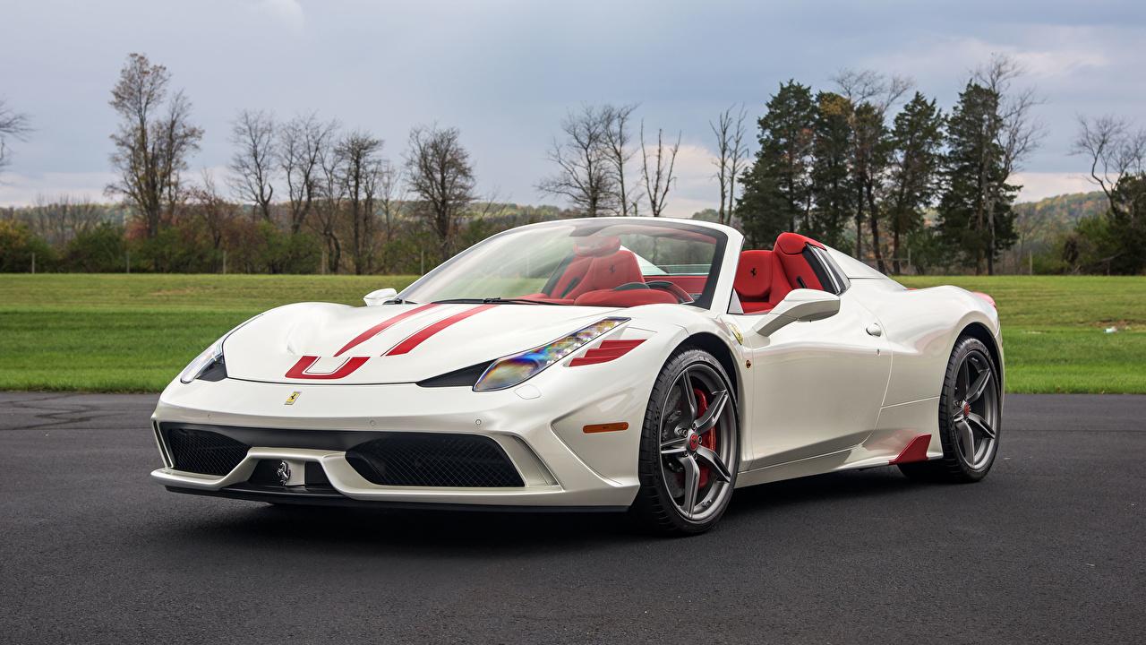 Фотографии Феррари 2015 458 Speciale A  Pininfarina Родстер Белый Авто Металлик Ferrari Машины Автомобили