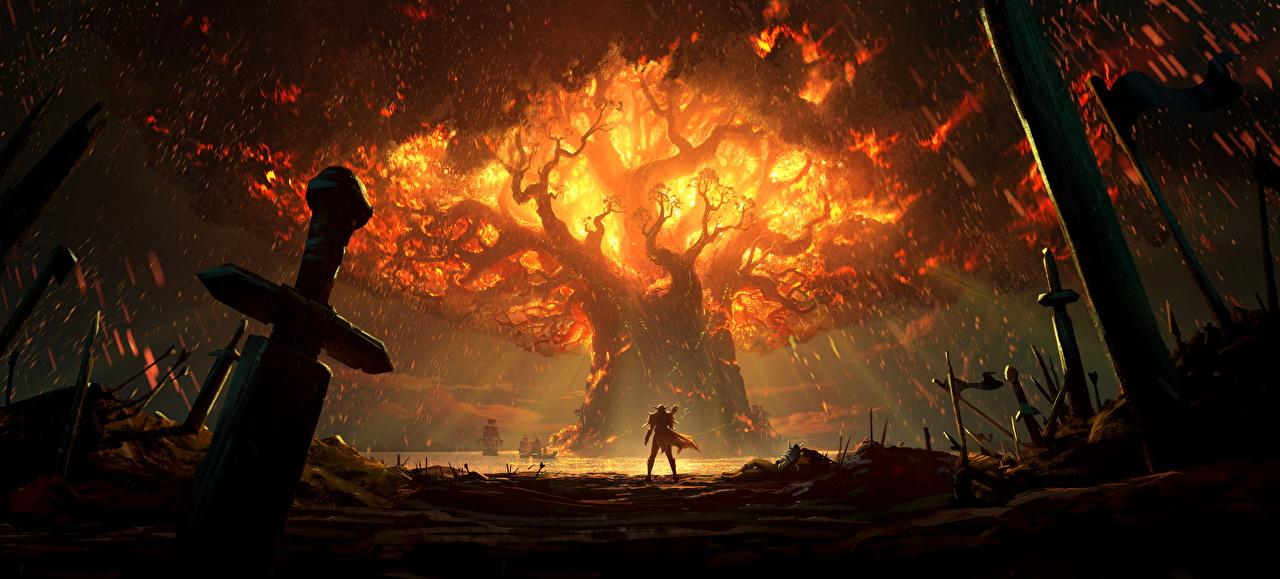 Картинка World of WarCraft Мечи Воители Battle For Azeroth, Teldrassil Burns Фэнтези Игры Деревья WoW воины Фантастика