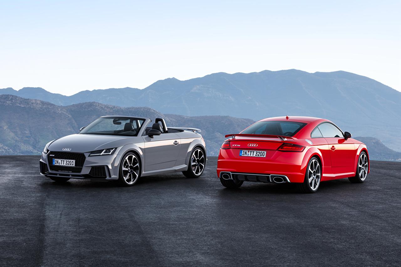 Картинки Audi 2016 TT RS Roadster Родстер вдвоем авто Металлик Ауди 2 два две Двое машина машины автомобиль Автомобили