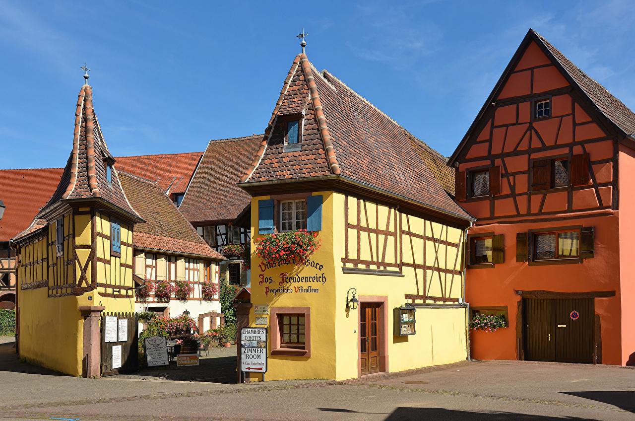 Картинки Франция Eguisheim Уличные фонари Дома Города Дизайн город Здания дизайна
