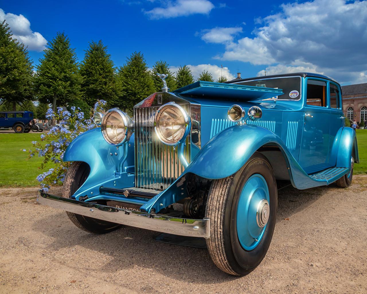 Фотография Rolls-Royce 1933 Phantom II Continental винтаж Голубой машины Роллс ройс Ретро голубая голубые голубых старинные авто машина Автомобили автомобиль