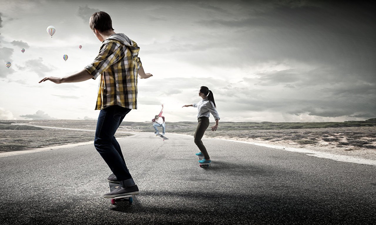Обои для рабочего стола Мужчины физическое упражнение спортивная молодые женщины Дороги Скейтборд Тренировка тренируется Спорт Девушки девушка спортивный спортивные молодая женщина Роликовая доска