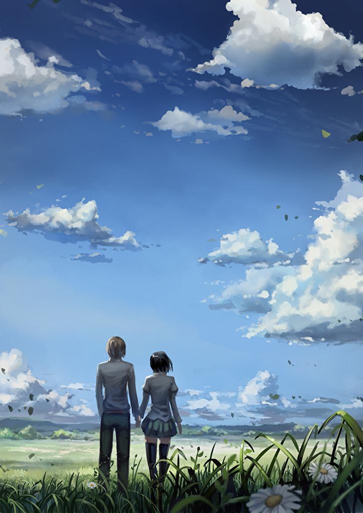 Фотографии Юноша 2 Аниме Девушки Небо Облака Парни Двое вдвоем