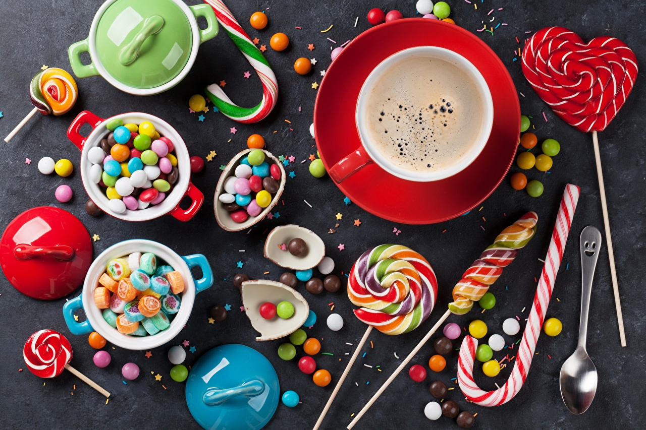 Обои Кофе Конфеты Леденцы чашке Продукты питания Сладости Еда Пища Чашка