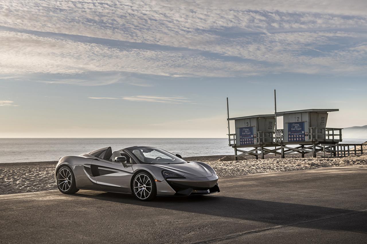 Обои для рабочего стола Макларен 2018 570S Spider Родстер Серый Автомобили McLaren серые серая авто машина машины автомобиль