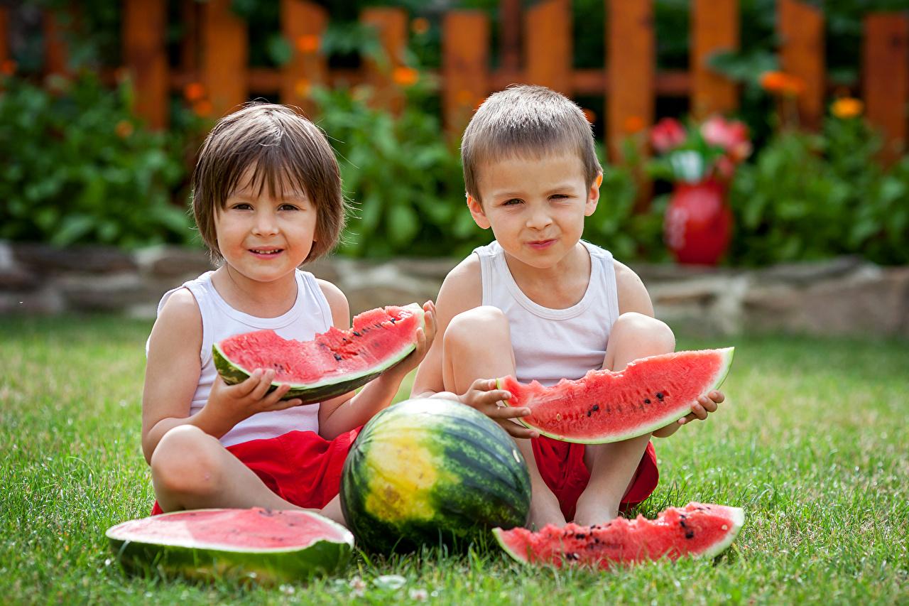 Картинки мальчишка Дети два Кусок Арбузы мальчик Мальчики мальчишки ребёнок 2 две Двое вдвоем часть кусочки кусочек