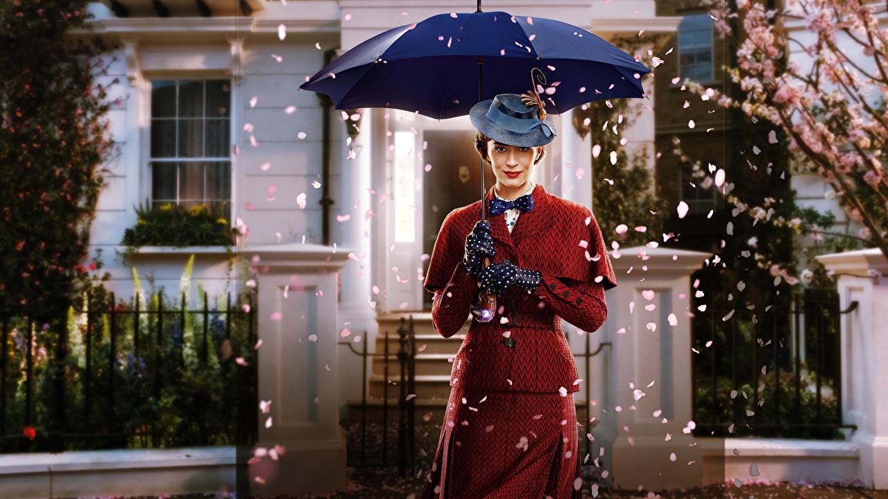 Фотографии Эмили Блант Mary Poppins Returns Шляпа Девушки Фильмы Зонт Знаменитости Emily Blunt Кино