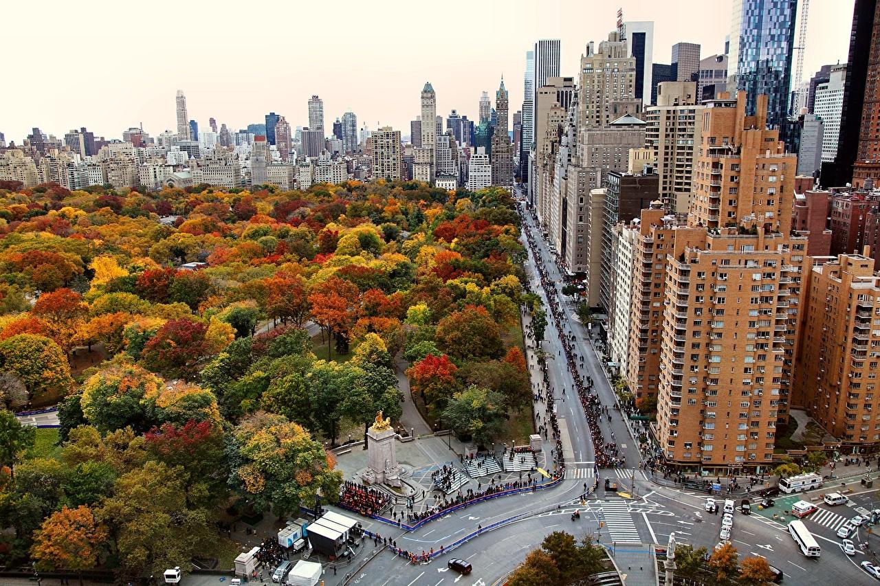 Обои для рабочего стола Нью-Йорк Манхэттен америка парк Дома Города США штаты Парки город Здания