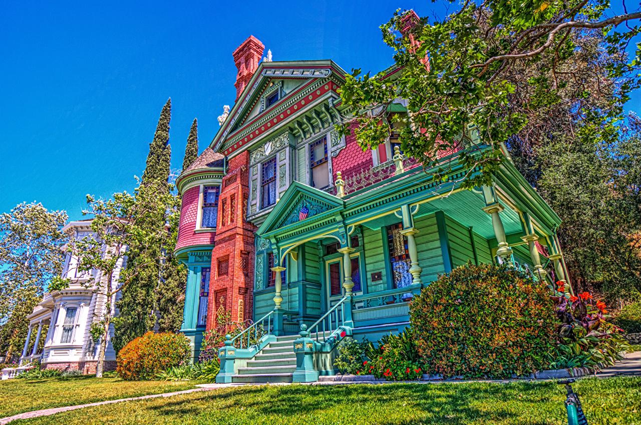 Фото Калифорния штаты Heritage Square Museum HDR старинные Кусты Города Здания Дизайн США HDRI Ретро Винтаж Дома