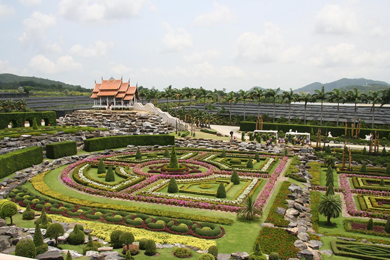 Фотография Таиланд Nong Nooch Tropical Botanical Garden Природа Сады газоне Кусты дизайна Газон кустов Дизайн