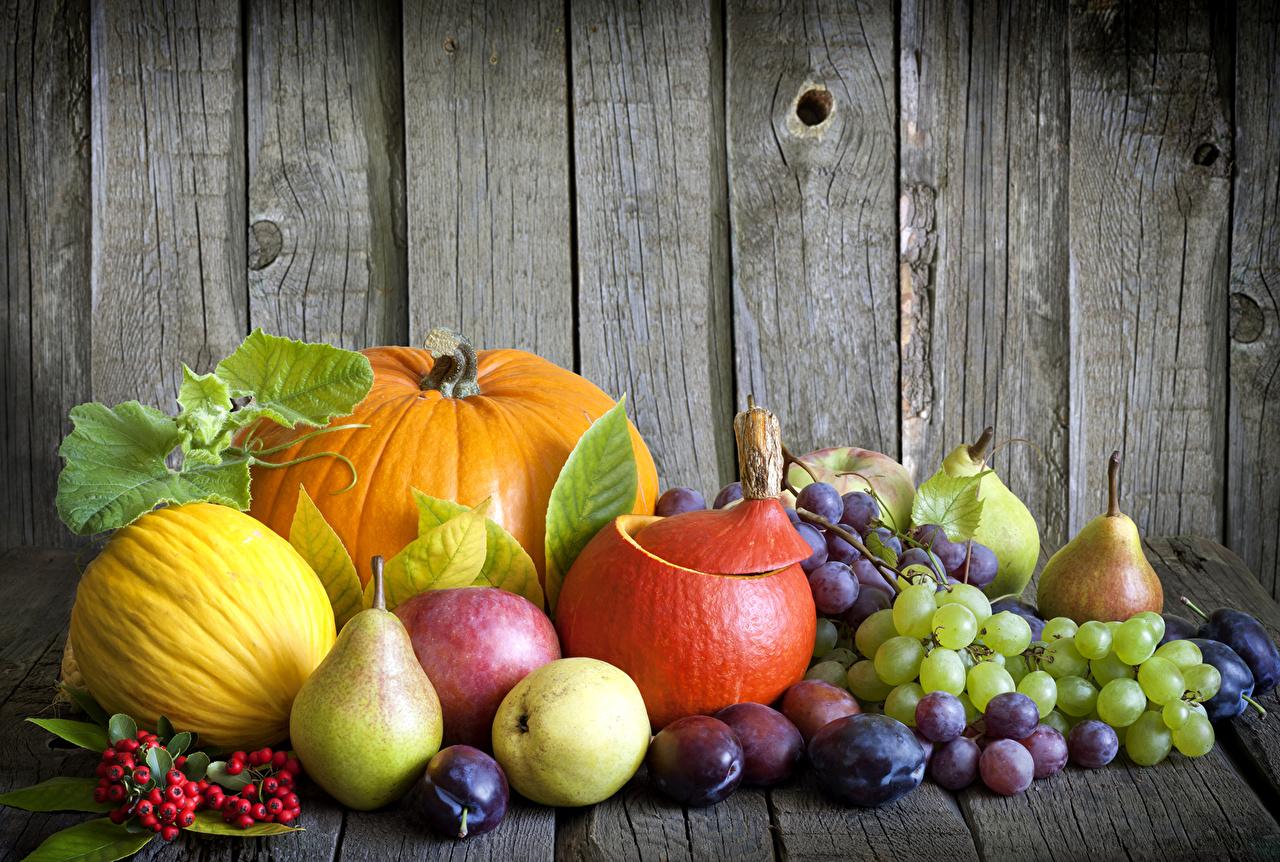 Обои для рабочего стола Тыква Дыни Сливы Груши Яблоки Виноград Продукты питания Еда Пища
