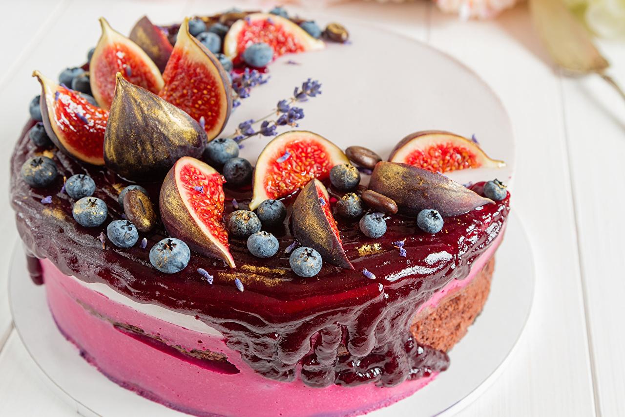 Фотографии Инжир Торты Черника Еда Сладости Пища Продукты питания сладкая еда