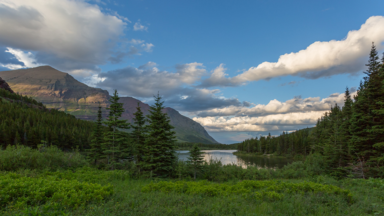 Фотография штаты Glacier National Park Горы Природа парк облако США америка гора Парки Облака облачно