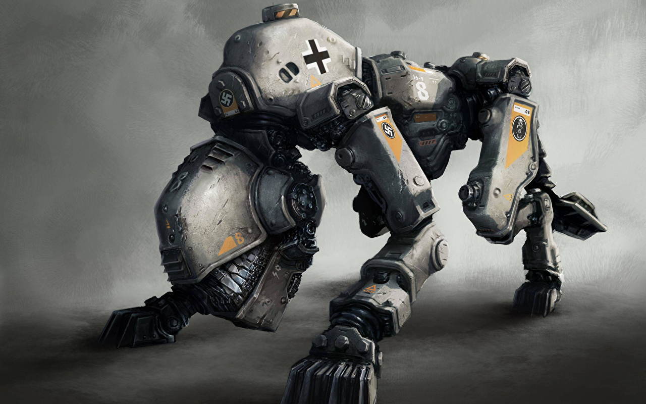 Картинки Wolfenstein Робот The New Order компьютерная игра фантастическая техника роботы робота Игры Техника Фэнтези