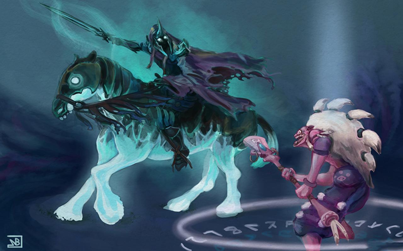 Картинки DOTA 2 Дазл Абаддон Мечи Шаман Лошади Посохи Нежить Воители Фэнтези Игры Dazzle Abaddon Нечисть воины Фантастика