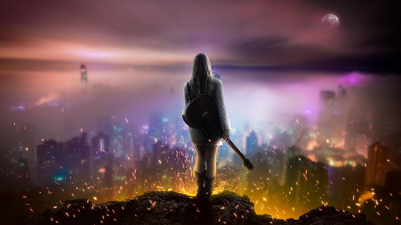 Картинки Блондинка Гитара Девушки Фантастика Огонь Небоскребы Фэнтези Пламя