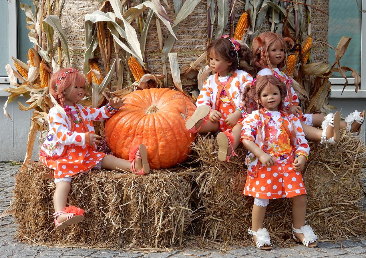 Обои Девочки Германия Кукла Grugapark Essen Тыква Кукуруза Парки Солома