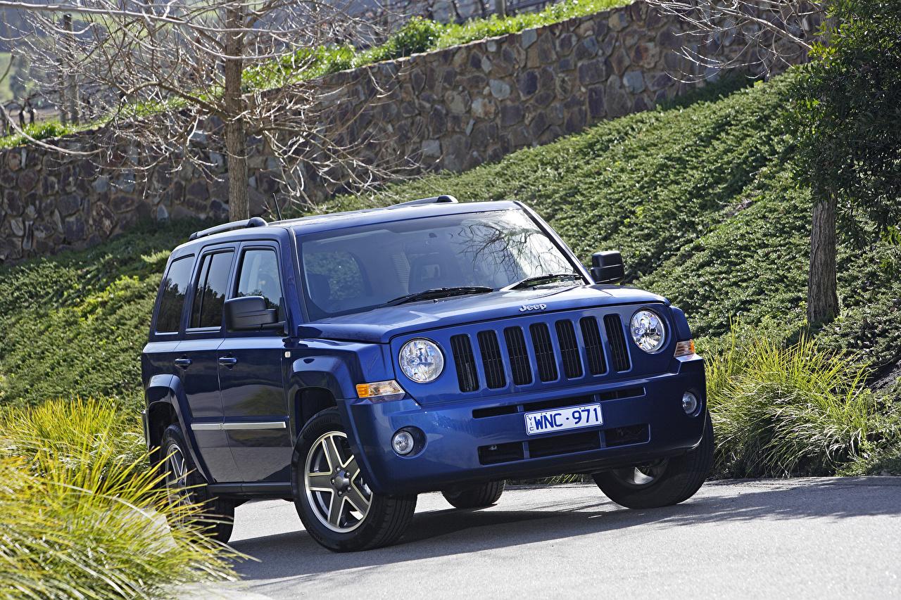 Фотографии Джип 2007-10 Patriot Limited Синий авто Jeep синих синие синяя машина машины автомобиль Автомобили