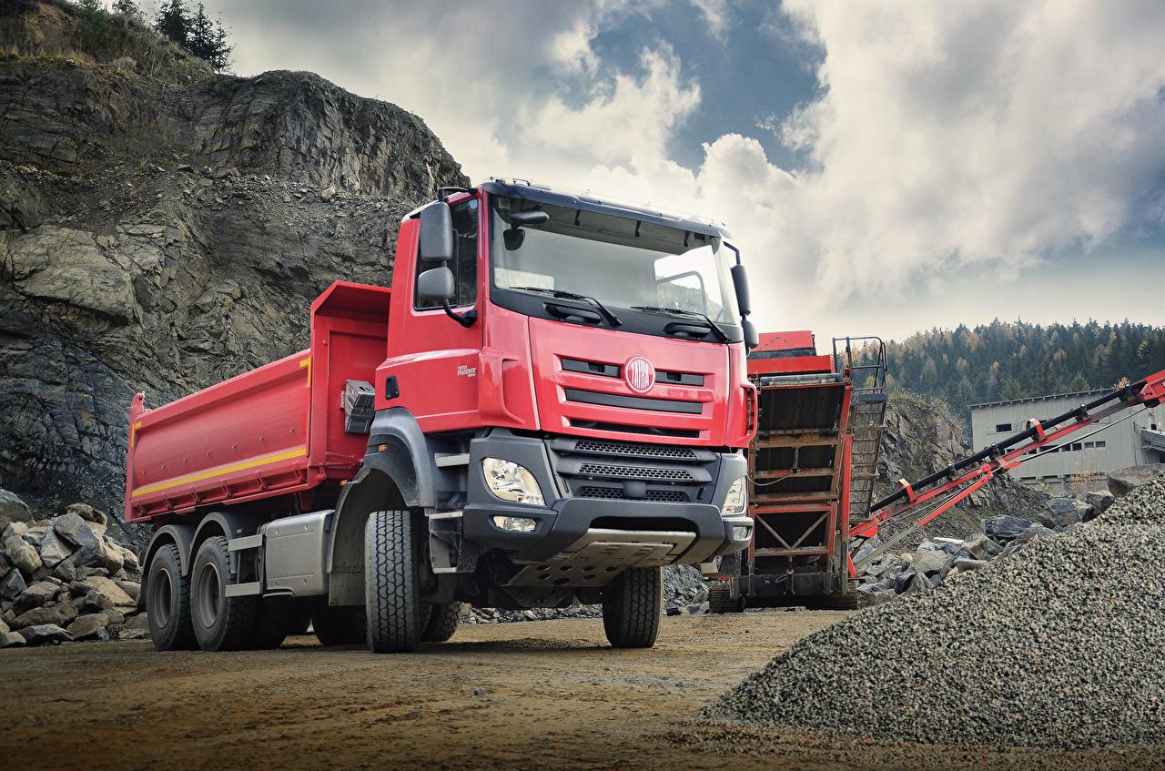 Фото Грузовики 2014-18 Tatra Phoenix T158-8P6R33 6×6.2 Dump Truck Красный Машины Авто Автомобили
