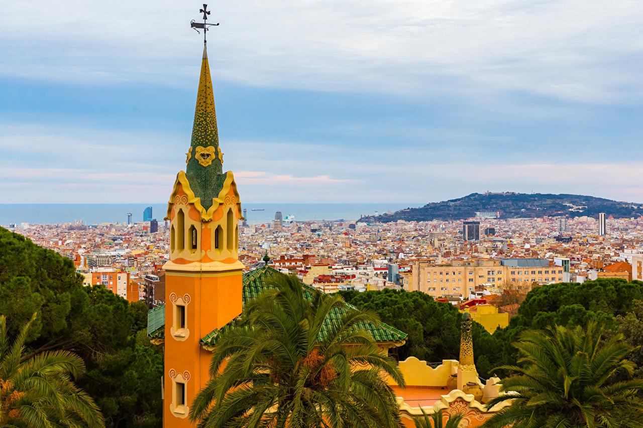 Картинка Барселона Испания Башня Дома Города башни Здания