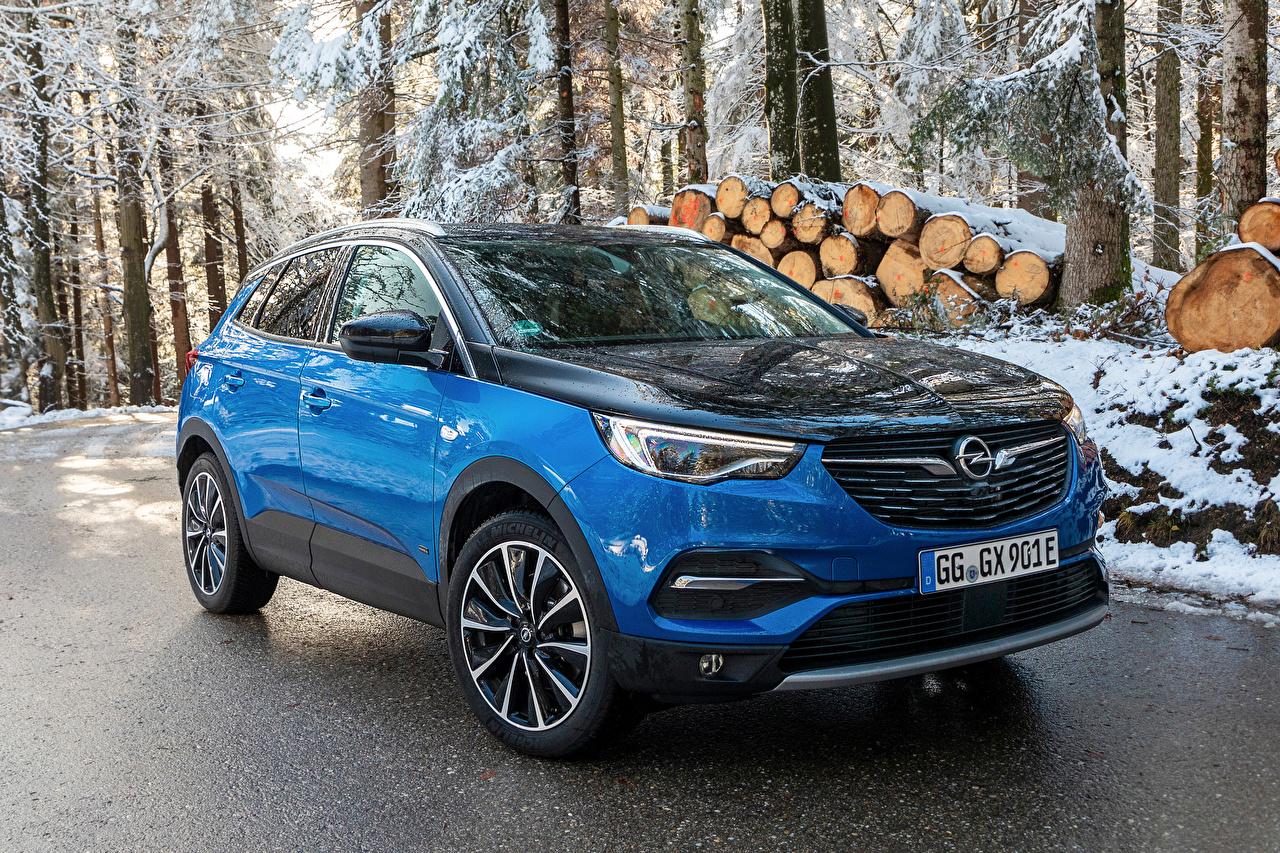 Картинки Opel 2019-20 Grandland X Hybrid4 Гибридный автомобиль Голубой Металлик автомобиль Опель голубая голубые голубых авто машины машина Автомобили