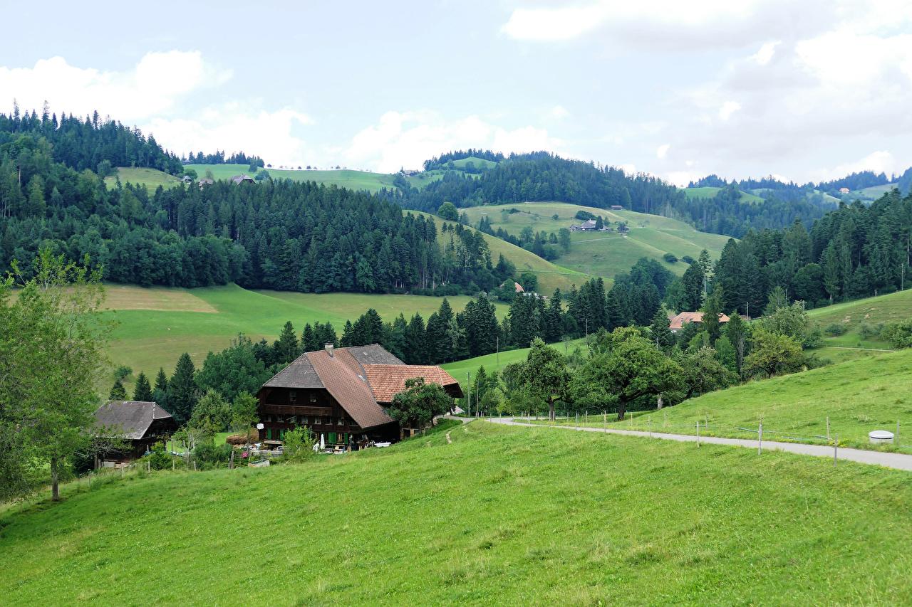Картинка Швейцария Emmental Природа Леса Луга Холмы Здания Дома