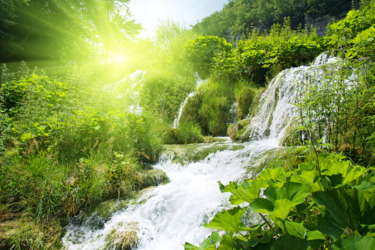 Картинки Лучи света Природа Водопады