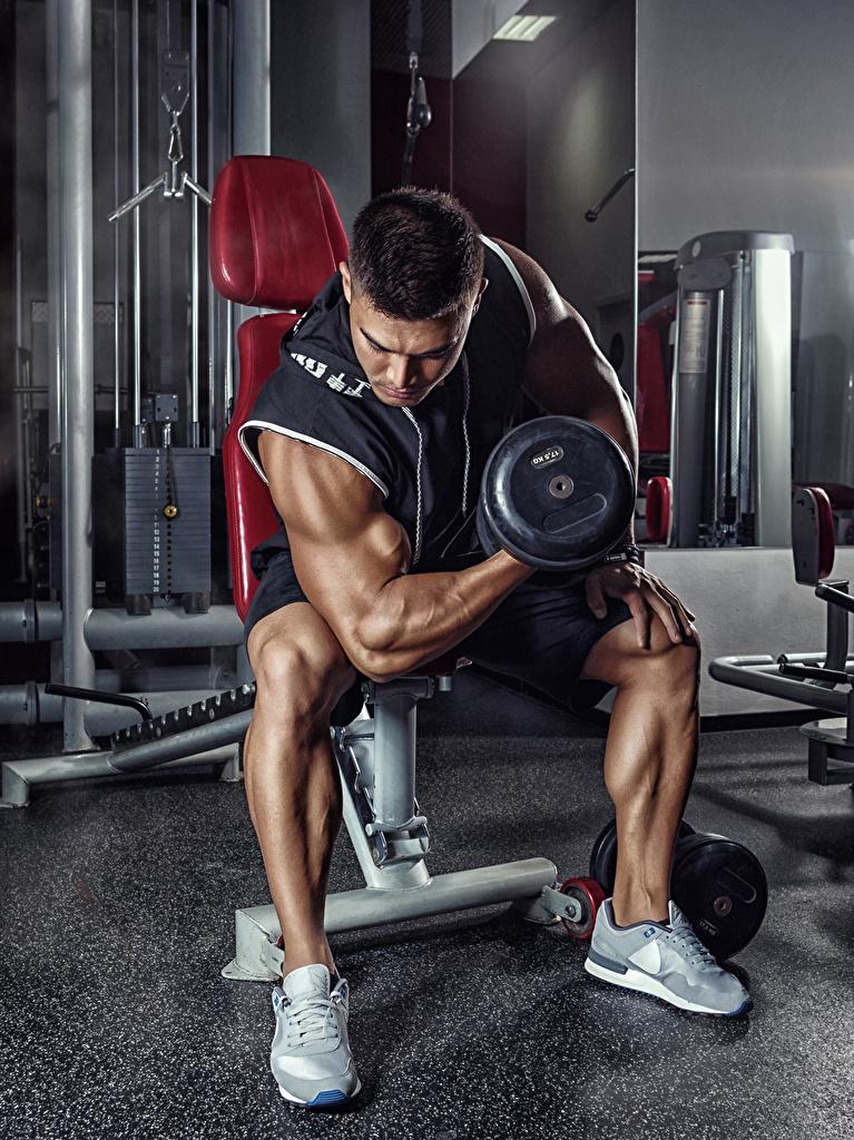 Фотография Мужчины гантель спортивный Бодибилдинг Сидит  для мобильного телефона Спорт гантеля Гантели гантелей гантелями спортивные спортивная сидя сидящие