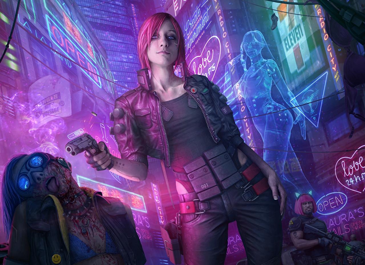 Фотографии Cyberpunk 2077 Рыжая Пистолеты Девушки Игры