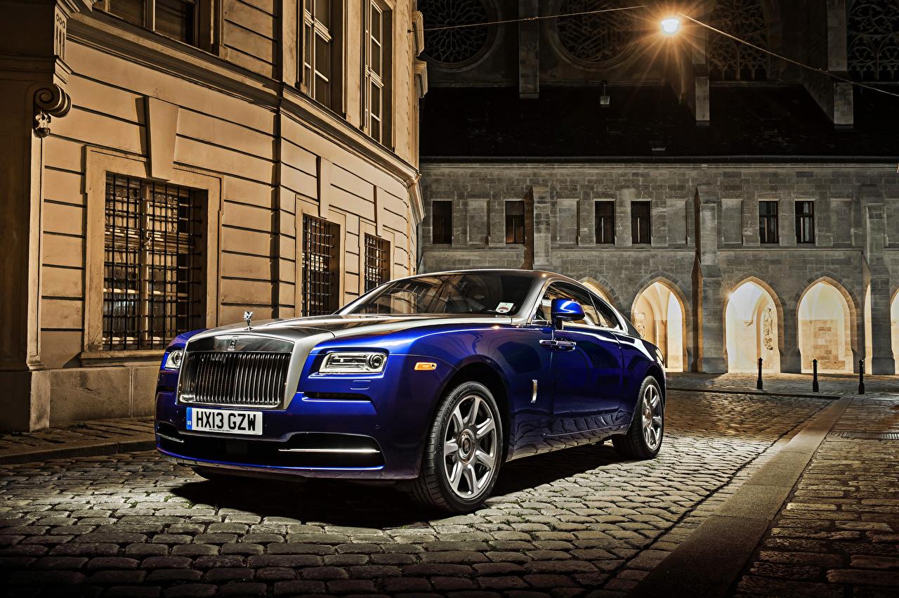 Фото Rolls-Royce 2013-19 Wraith Worldwide синих Автомобили Роллс ройс синяя синие Синий авто машины машина автомобиль