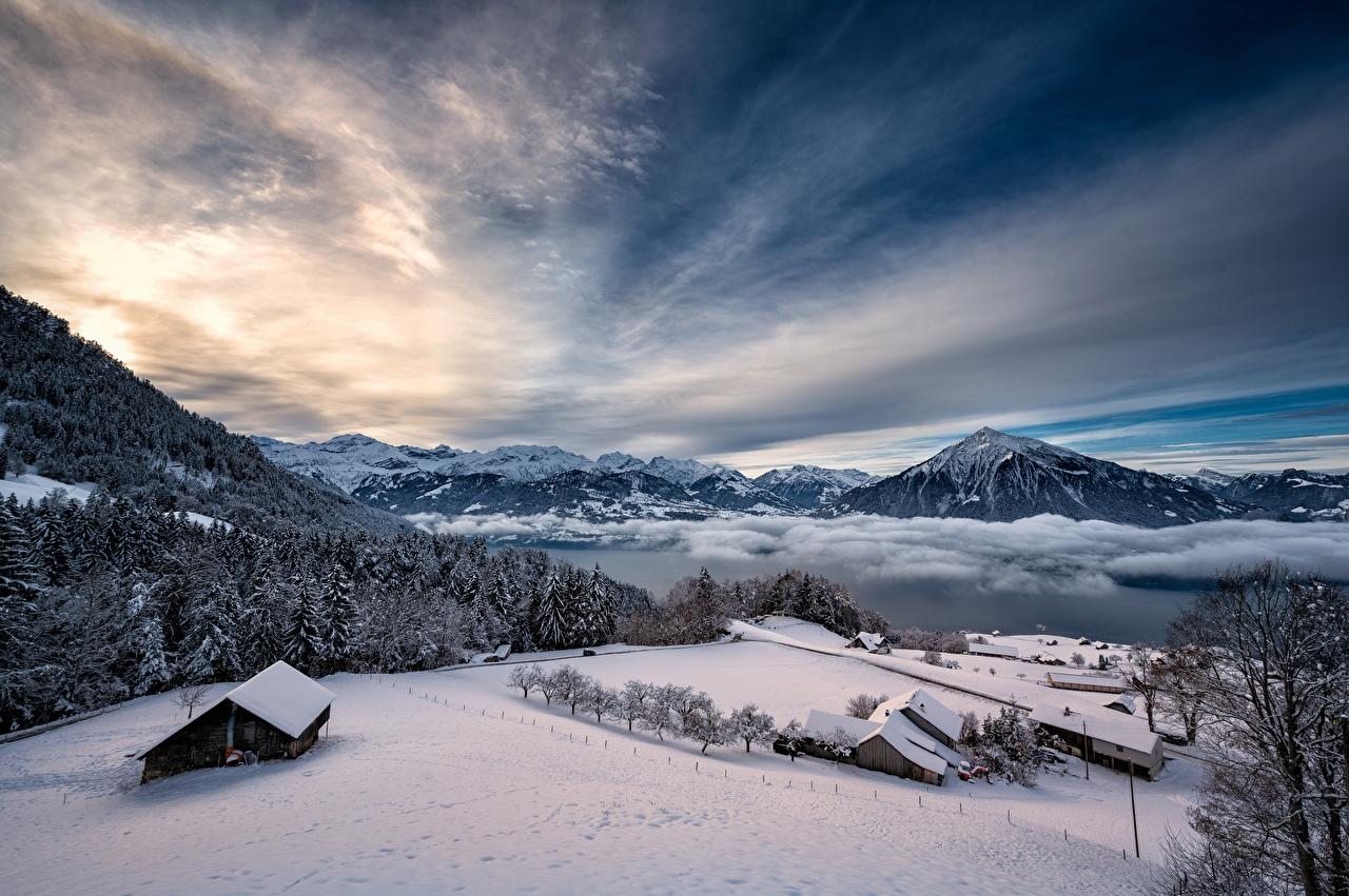 Картинка Альпы Швейцария Thunersee гора зимние Природа Небо Озеро снега альп Зима Горы Снег снегу снеге
