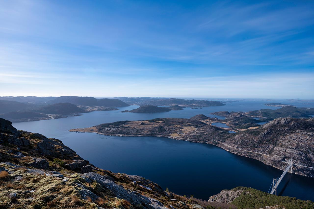 Картинка Норвегия Rogaland Фьорд Горы Природа Небо Сверху гора