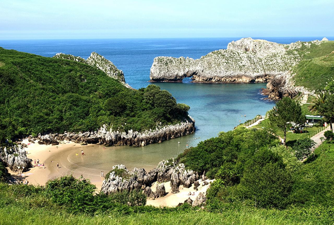Картинки Испания Cantabria Море Природа берег Бухта Горизонт бухты Побережье горизонта